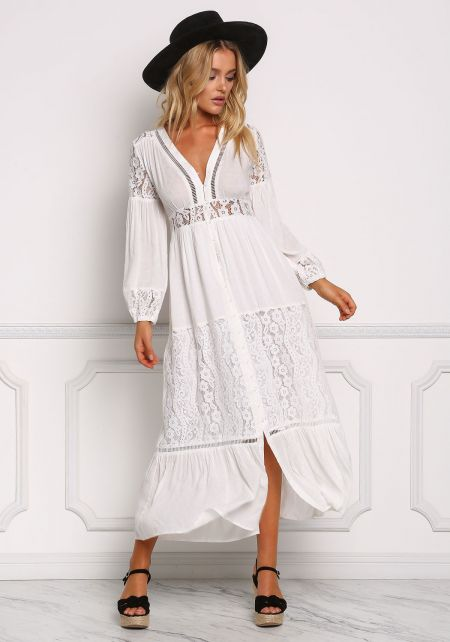Off White Lace Trim Button Down Maxi Dress
