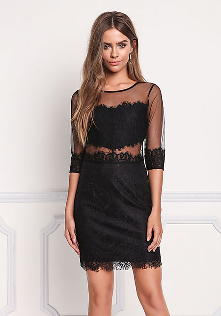 Black Lace Tulle Scallop Dress