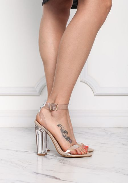 Nude Clear Ankle Strap Heels