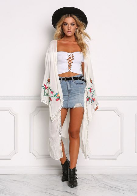 Cream Floral Embroidered Crepe Longlined Kimono