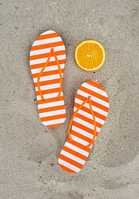 Orange Stripe Thong Sandals