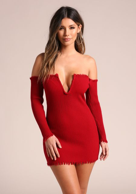 Red V Plunge Frayed Ribbed Knit Bodycon Dress