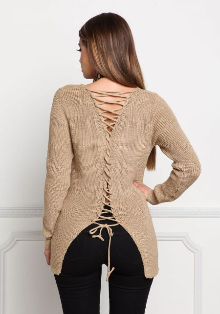 Taupe Back Lace Up Thick Knit Sweater Top