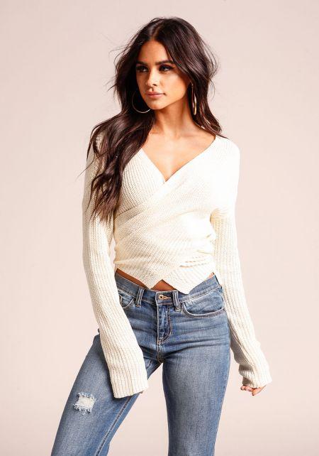 Cream Cross Over Sweater Crop Top