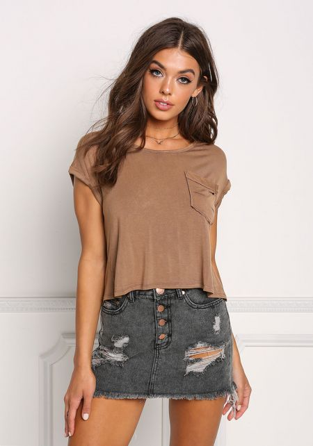 Mocha Slashed Pocket Back Surplice Crop Top