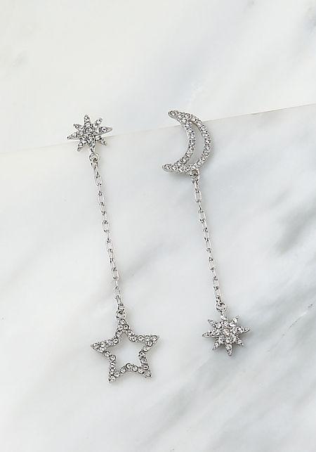 Silver Rhinestone Moon & Star Drop Earrings