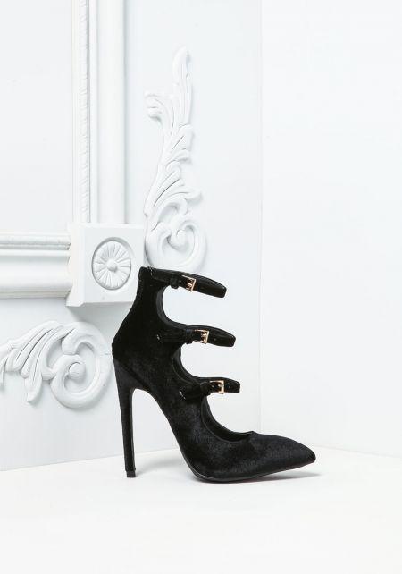 Black Three Strap Velvet Pointed Toe Heels