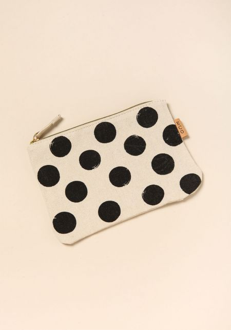 Beige Polka Dot Pouch Bag
