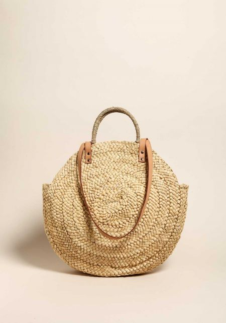 Natural Woven Straw Large Tote Bag
