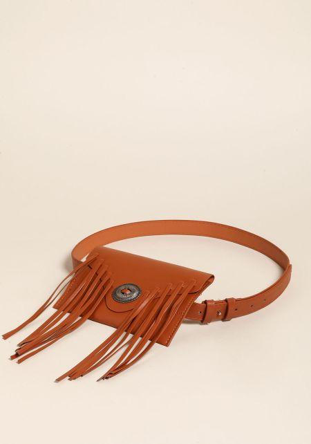 Brown Leatherette Fringe Fanny Belt