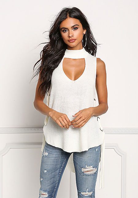 White Sweater Knit Side Lace Up Cut Out Top