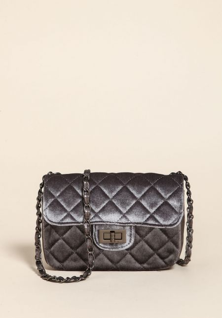 Grey Quilted Velvet Crossbody Bag