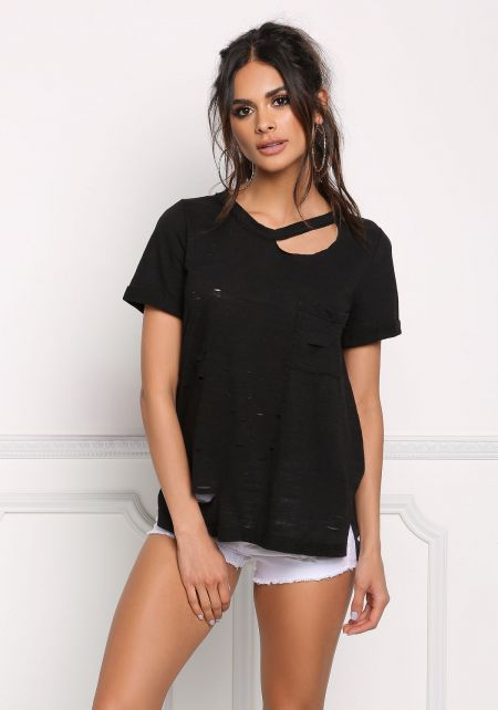 Black Distressed Pocket Tee Shirt