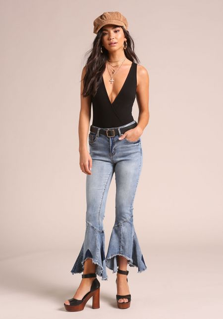 Blue Bell Bottom Patched Jeans
