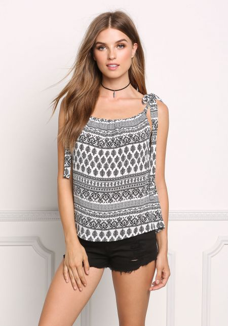 Black and White Gauze Paisley Tie Strap Tank Top