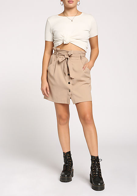 Taupe Buttoned Paperback High Rise Skirt