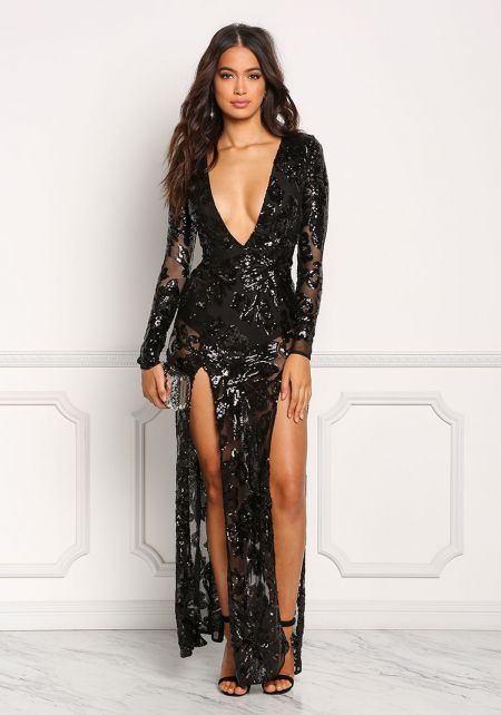Black Mesh Sequin Plunge High Slit Maxi Gown