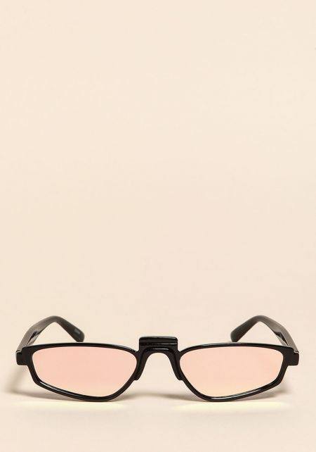 Rose Mirrored Skinny Sunglasses