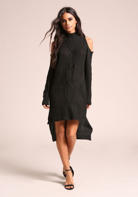 Black Cold Shoulder Hi-Lo Sweater Knit Dress