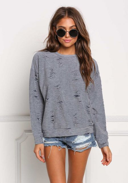 Dusty Blue Distressed Pullover Top
