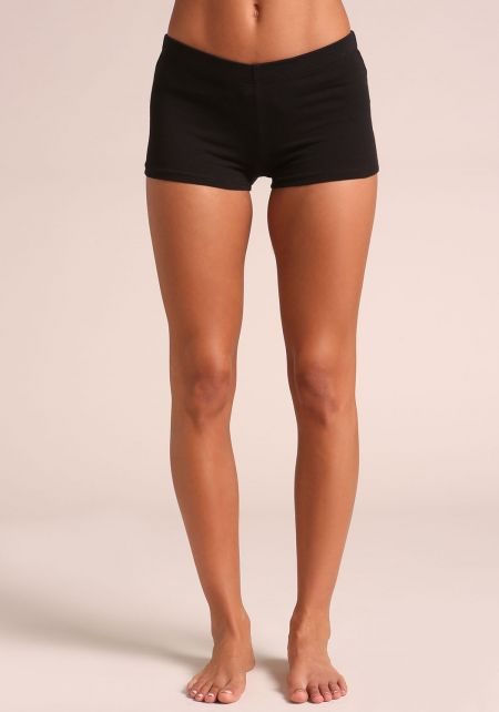 Black Jersey Knit Mini Shorts