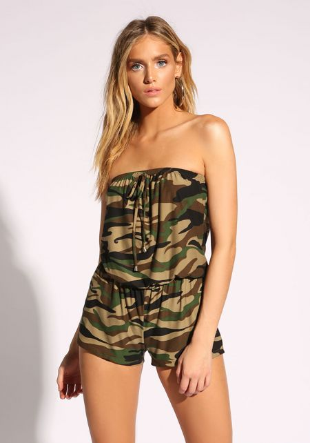Camouflage Strapless Knit Romper