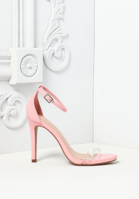 Pink Patent Leatherette Perspex Heels
