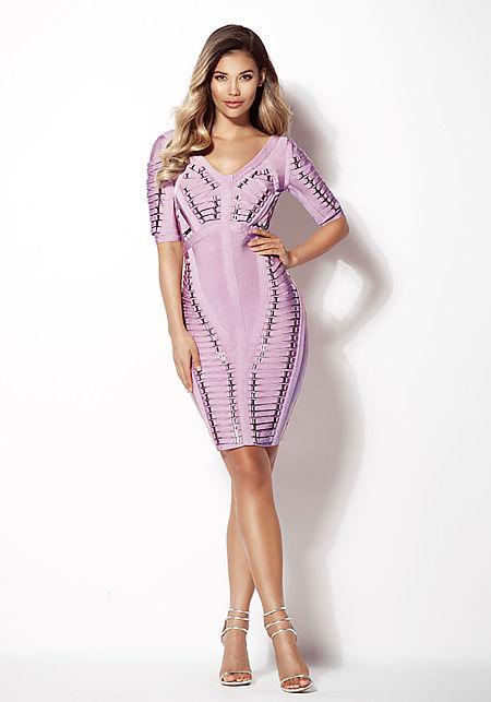 Dusty Pink Multi Strap Plunge Bandage Dress