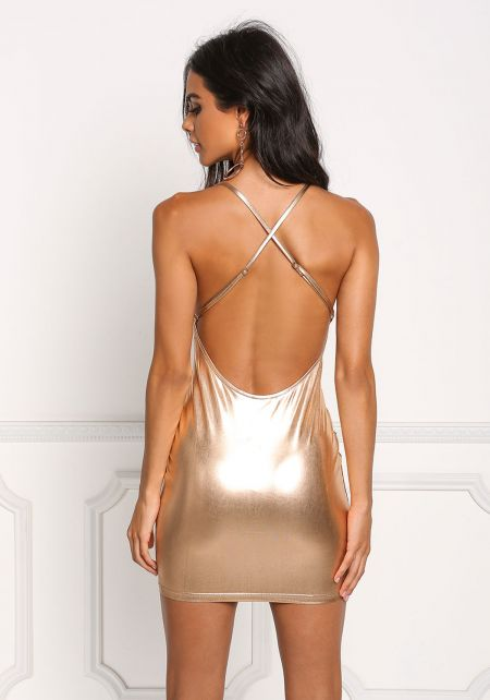 Rose Gold Metallic Bodycon Dress