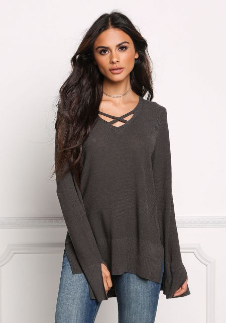 Charcoal Cross Strap Ribbed Knit Sweater Top