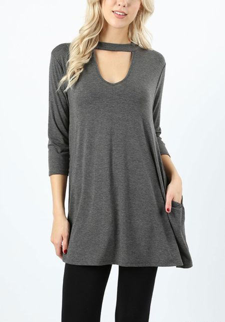 Charcoal Jersey Knit Cut Out Pocket Top