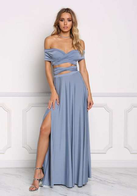 Dusty Blue Multi Wrap Two Piece Maxi Set