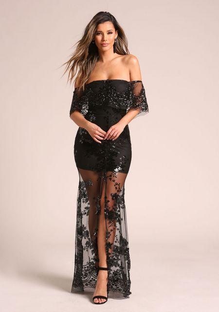 Black Sequin Tulle Off Shoulder Maxi Gown