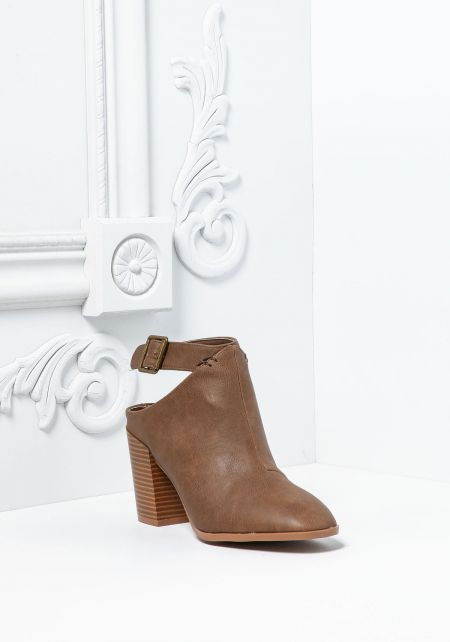 Taupe Leatherette Ankle Strap Booties