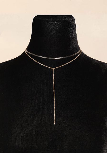 Gold Layered Drop Chain Choker