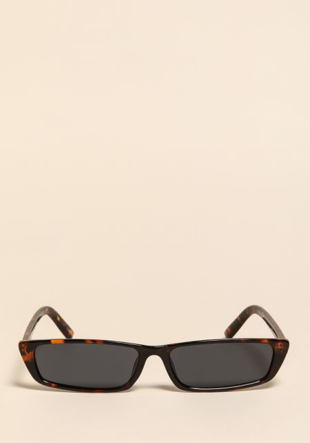 Leopard Skinny Rectangular Sunglasses