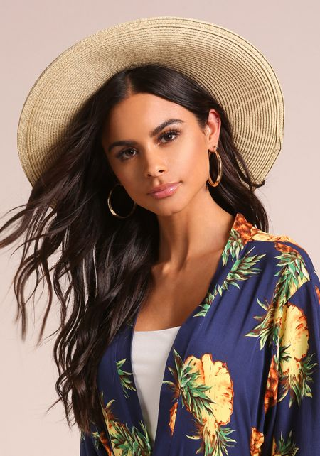 Natural Round Top Belted Straw Hat