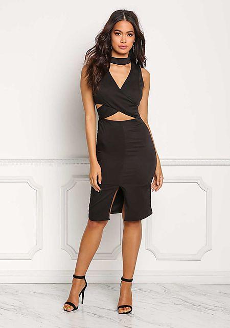 Black Choker Cut Out Plunge Bodycon Dress