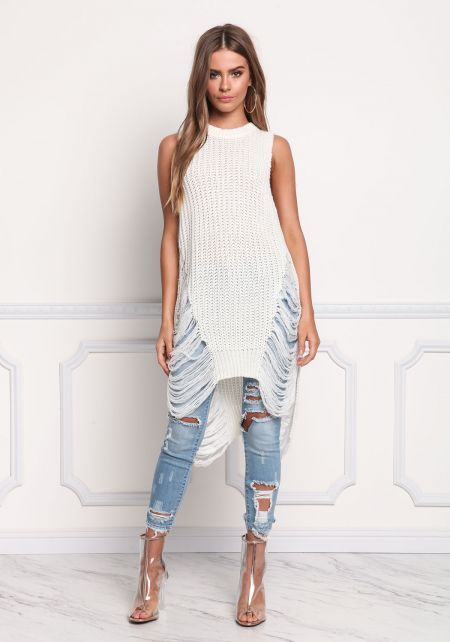 White Thick Knit Frayed Tunic Tank Top