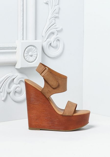 Tan Leatherette Ankle Strap Clog Wedges