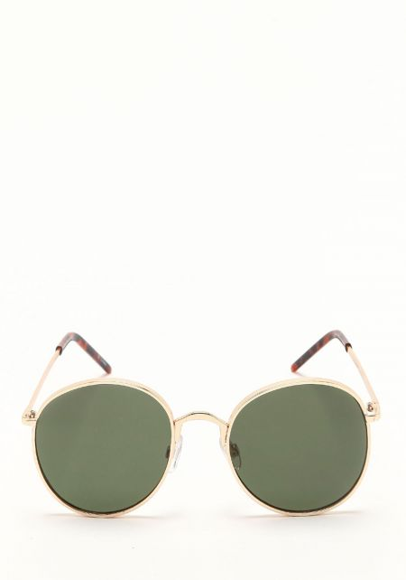 Zero UV Green Metal Round Sunglasses