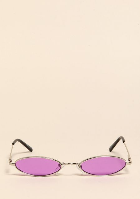 Purple Skinny Oval Sunglasses
