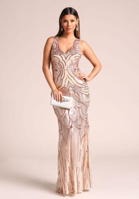 Rose Gold Sequin Slit Mermaid Maxi Gown