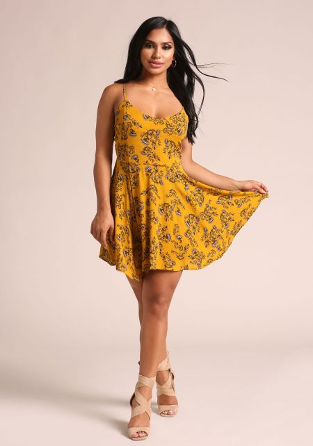 Mustard Floral Crepe Lace Up Flared Dress