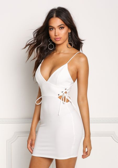 Ivory Plunge Side Lace Up Bodycon Dress