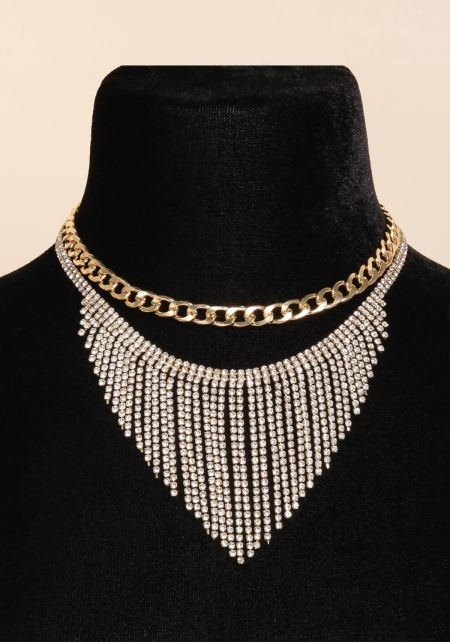 Gold Chain Choker & Rhinestone Necklace Set