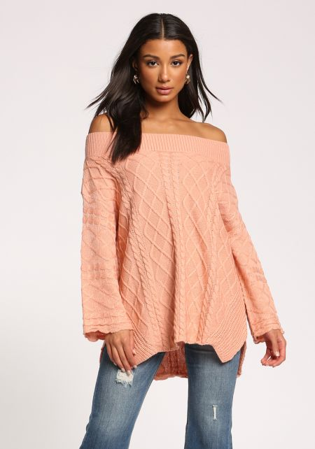 Peach Cable Knit Off Shoulder Sweater Top