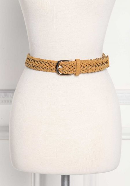 Mustard Suedette Braided Belt