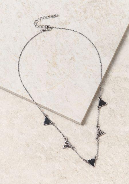 Black Triangle Stone & Pendant Delicate Necklace