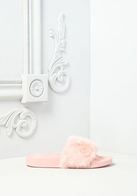 Light Pink Faux Fur Slide Sandals